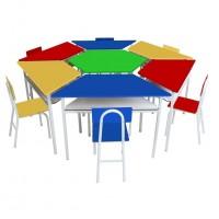 Mesa sextavado angulares com 6 cadeiras