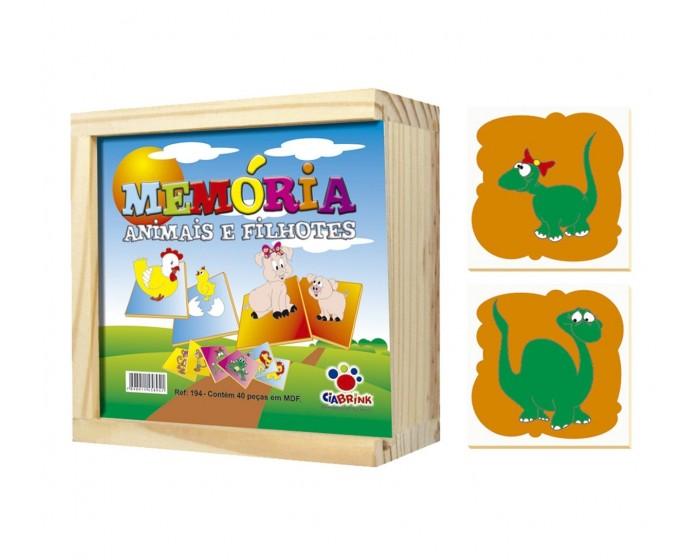 Jogo da Memória Animais e Filhotes Caixa em Madeira