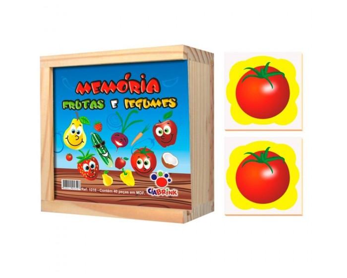 Jogo da Memória Frutas e Legumes em Caixa de Madeira
