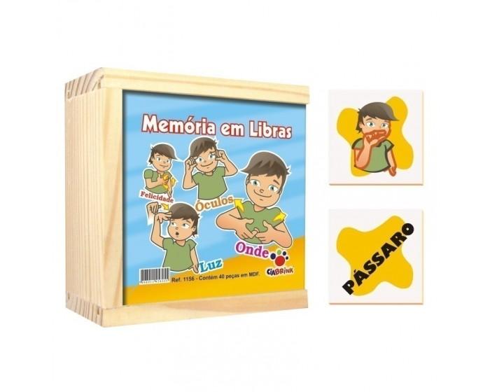 Jogo da Memória Libras Caixa em Madeira