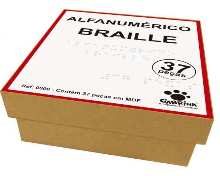 Alfanumérico Braille com 37 Peças Cx em Madeira