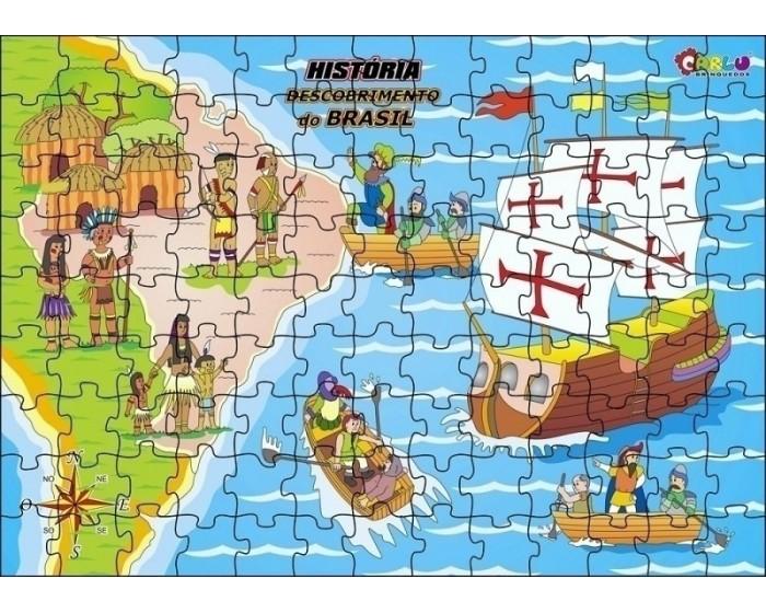 Quebra-Cabeça História Descobrimento do Brasil em Madeira