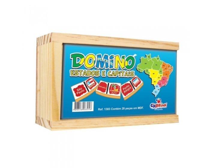 Jogo de Dominó Estados e Capitais Caixa em Madeira