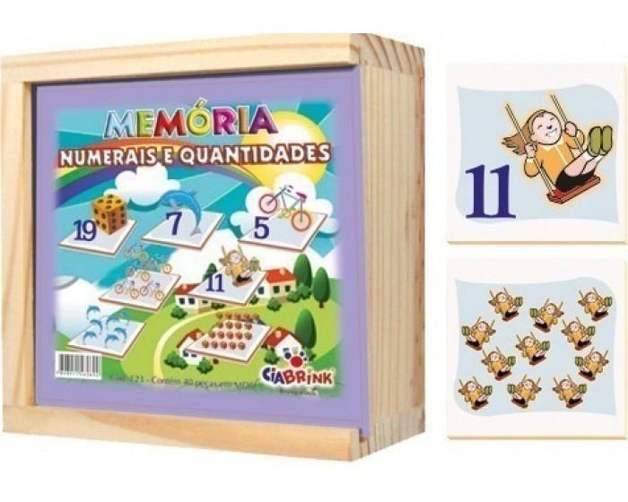 Jogo da Memória Numerais e Quantidades Caixa em Madeira