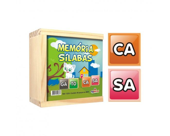 Jogo da Memória Sílabas Caixa em Madeira