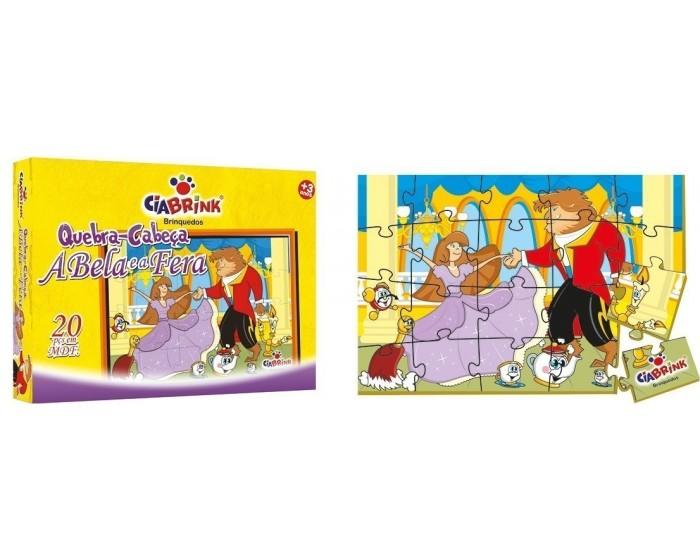 Quebra-Cabeça A Bela e a Fera em Madeira em Caixa Cartonada