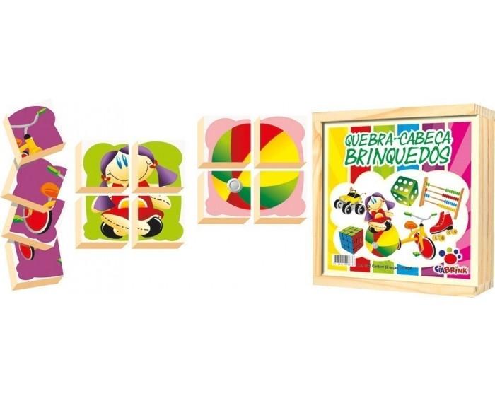 Quebra-Cabeça Blocos Brinquedos Caixa em Madeira